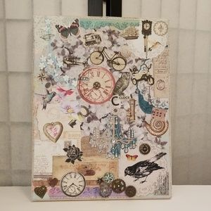 Decopage collage of clocks wheels sprockets birds